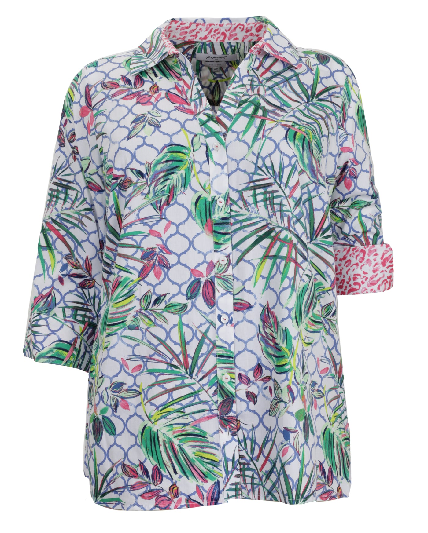 Foxcroft Palmer Tropical Print Shaped Tunic