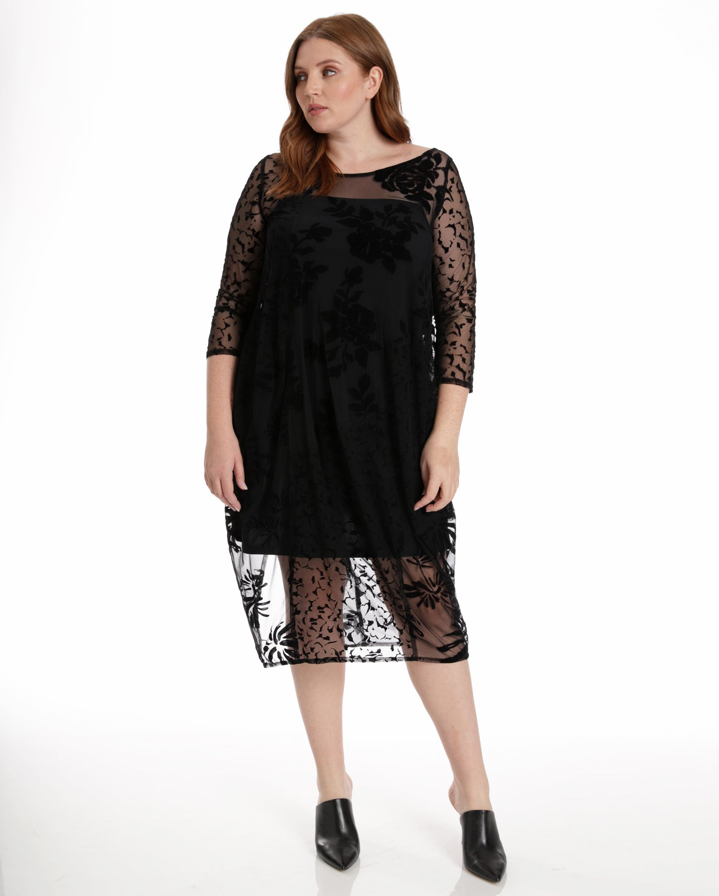 Alembika Floral Velvet Sheer Dress