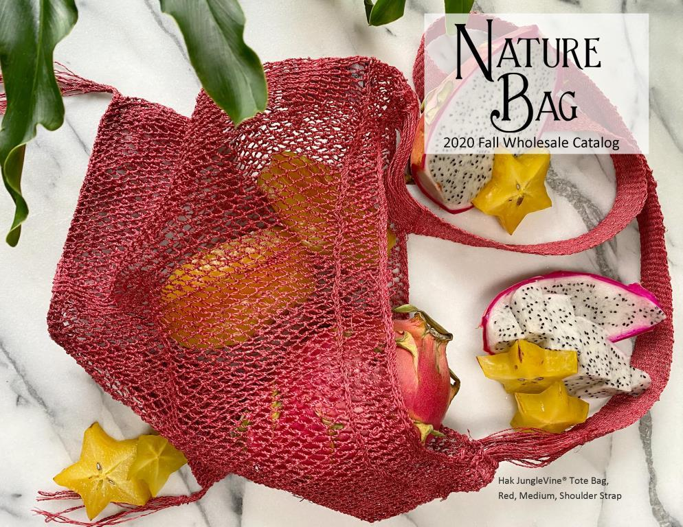 Nature Bag Fall 2020 Wholesale Catalog - front cover with Red Hak JungleVine® Tote