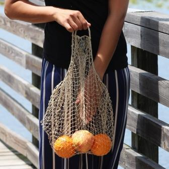 Lao Market Eco-Friendly Mesh Net Produce Bag, handmade of JungleVine Fiber, zero-waste reusable shopping bag.