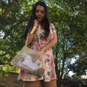 Pahk Eco-Friendly Vegan JungleVine Tote Bag, medium with shoulder strap, used as a purse or messenger bag.