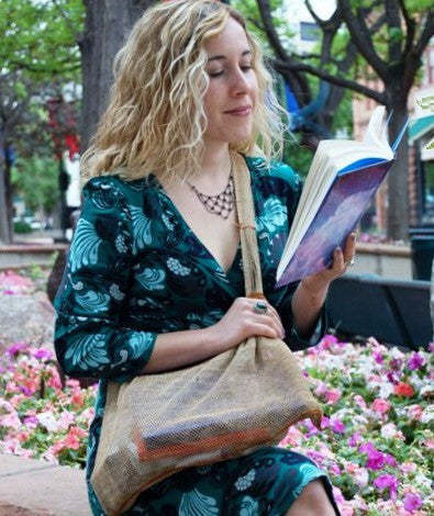 Pahk Eco-Friendly Vegan JungleVine Tote Bag, large with crossbody strap, used as a book bag or purse.