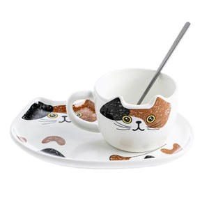 Coffee Cat Ceramic Cup and Plate