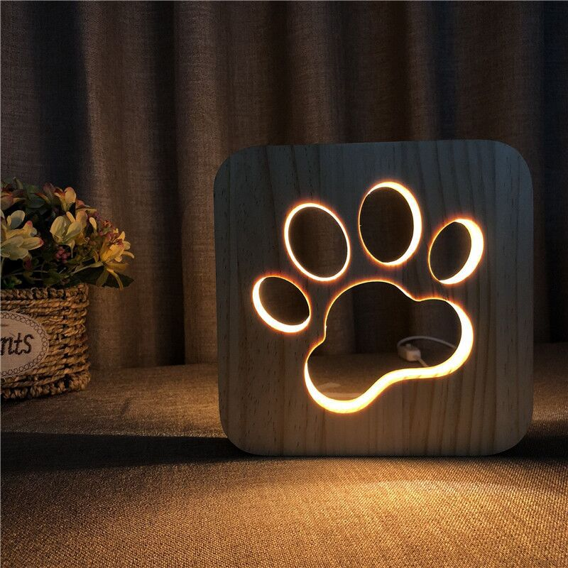 Cut Out Wooden Dog Paw Cat Night Light