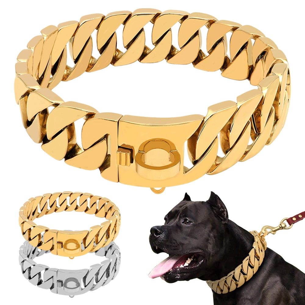 Dog Bling Stainless Steel Link Collar