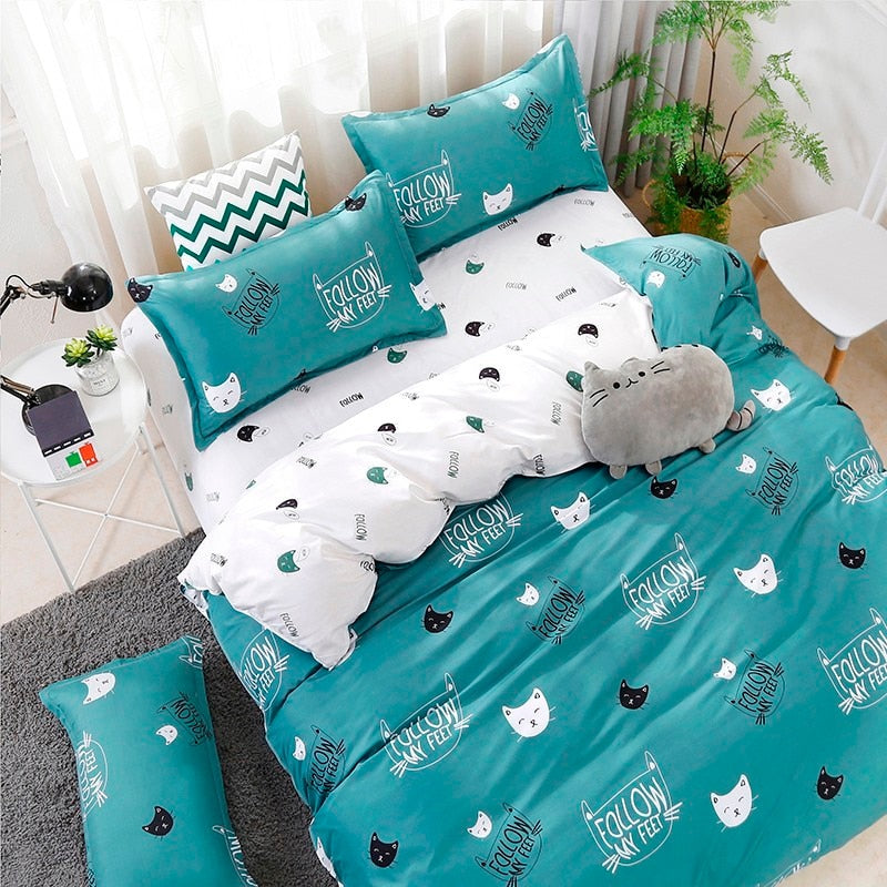 Kitty Cat Bedding Duvet Cover Set Nile Blue Cat / Twin Set - The Barking Dog Market