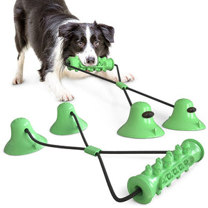 THE BARKING DOG Double Suction Cup Toothbrush & Tug Toy Green - The Barking Dog Market