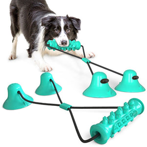 THE BARKING DOG Double Suction Cup Toothbrush & Tug Toy Blue - The Barking Dog Market