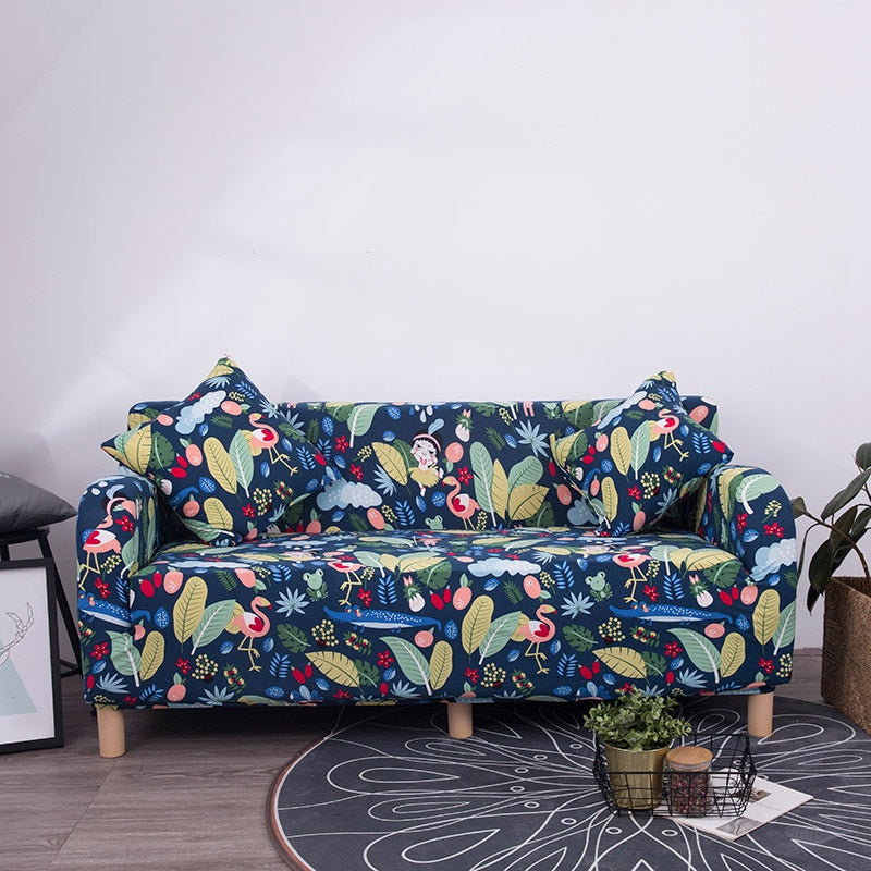 Colorful Prints Slip-Resistant Stretch Sofa Cover Pet Couch