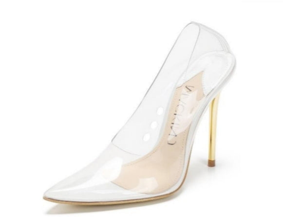 4cb63c98b1a Mackin J 188-7 Transparent Clear Pointed Toe Gold heel white insole Slip On  Pumps