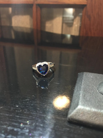 Blue Sapphire Heart Style / Heart of the Ocean type ring