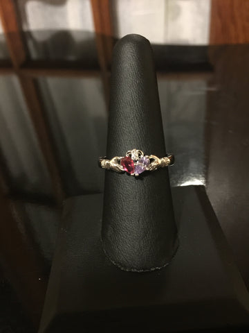 Claddagh Ring - Purple & Red