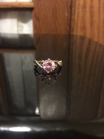 Solitaire Crystal Ring - Pink Topaz