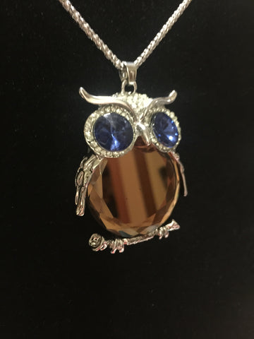 Owl Mirror Gem Necklace - Champagne