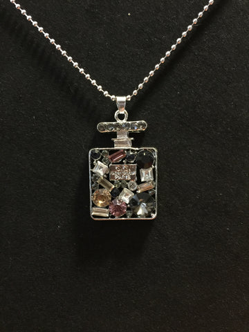 Perfume Bottle Gem Necklace