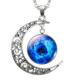 Blue celestial galaxy necklace