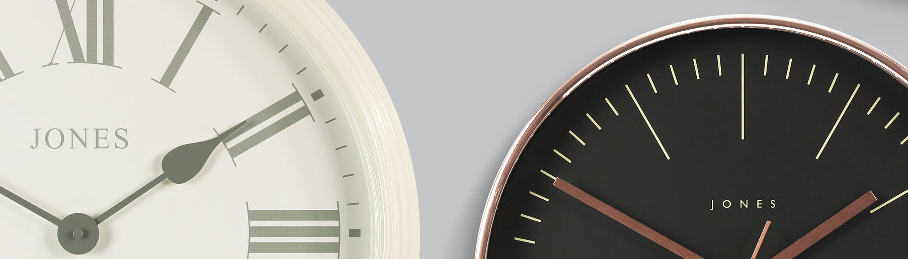 At Jones Clocks we design and create on-trend clocks to add the finishing touch to your décor.