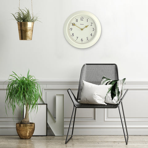 Large cream wall clock numeral dial best lounge clocks by Jones clocks