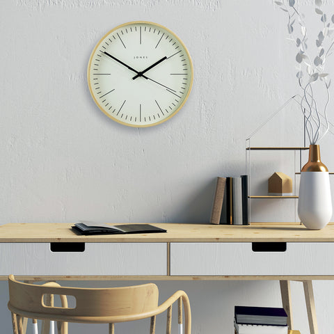 Scandi-style compact minimalist wall clock best lounge clocks by Jones clocks