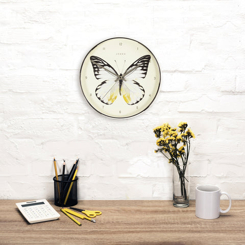 Decorative round clock with Butterfly Penny wall clock by Jones clocks