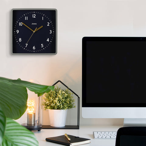 Square wall clock with black dial best lounge clocks by Jones clocks