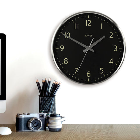 Large silver wall clock with black dial best lounge clocks by Jones clocks
