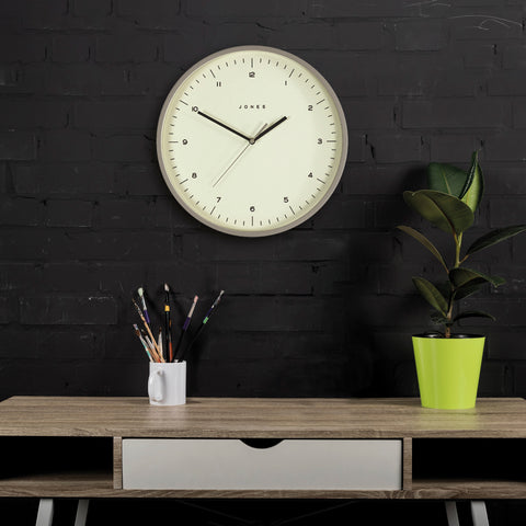 Grey scandi style round wall clock Spartacus by Jones clocks