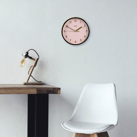 Pink interiors Scandi style pink wall clock Spin by Jones clocks