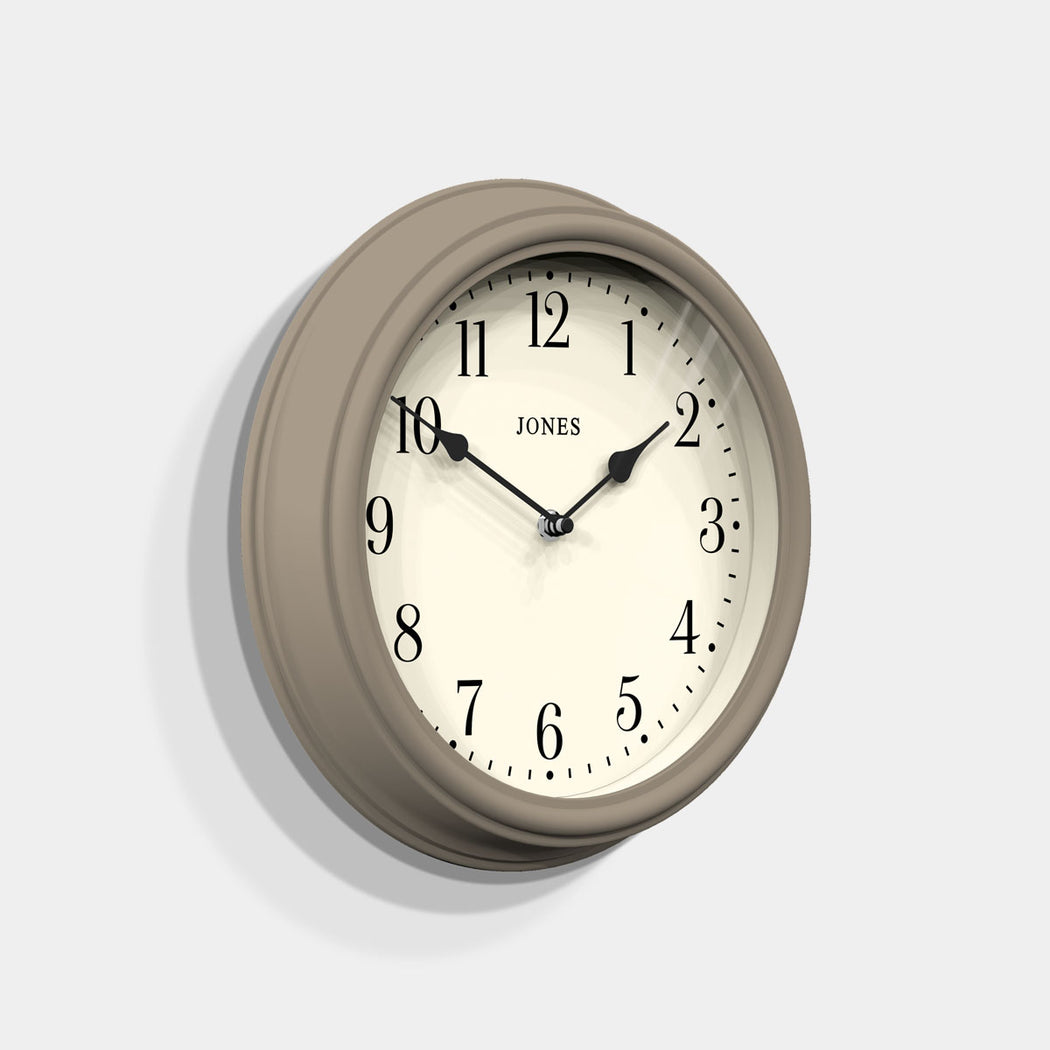 Medium Classic Wall Clock | Stone | Jones Clocks | Venetian 120 - skew