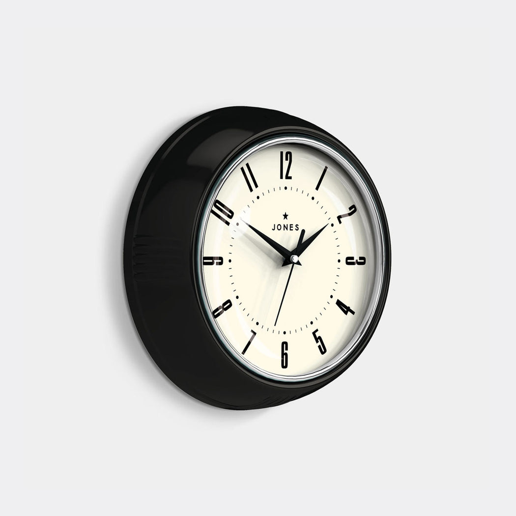 Small Retro Wall Clock | Black | Jones Clocks | Ketchup 214 - skew