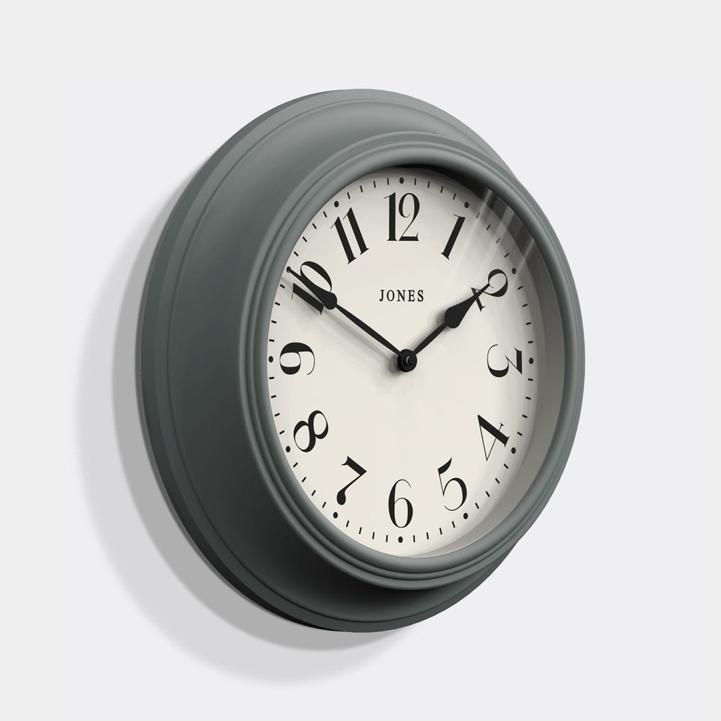 Classic Grey Wall Clock - Jones Clocks - JCOCKT111PGY