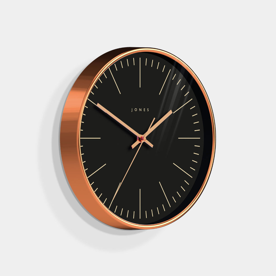 Medium Modern Wall Clock | Copper and Black | Jones Clocks | Studio 48 - skew