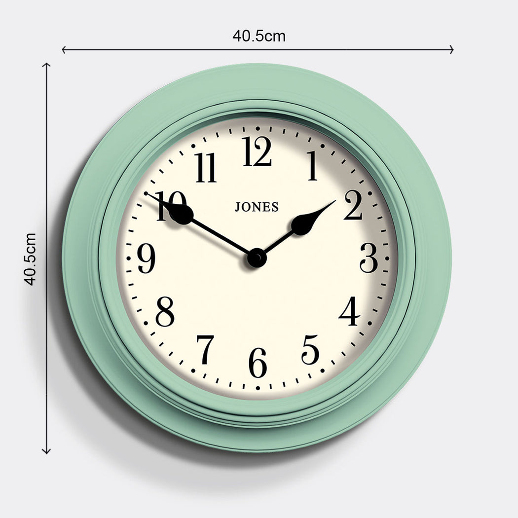 Large Classic Wall Clock | Duck Egg | Jones Clocks | Supper Club 144 - size