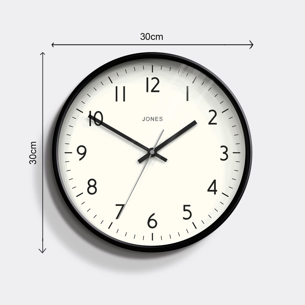 Easy-to-Read Modern Wall Clock Black - Jones Clocks - JPEN52K