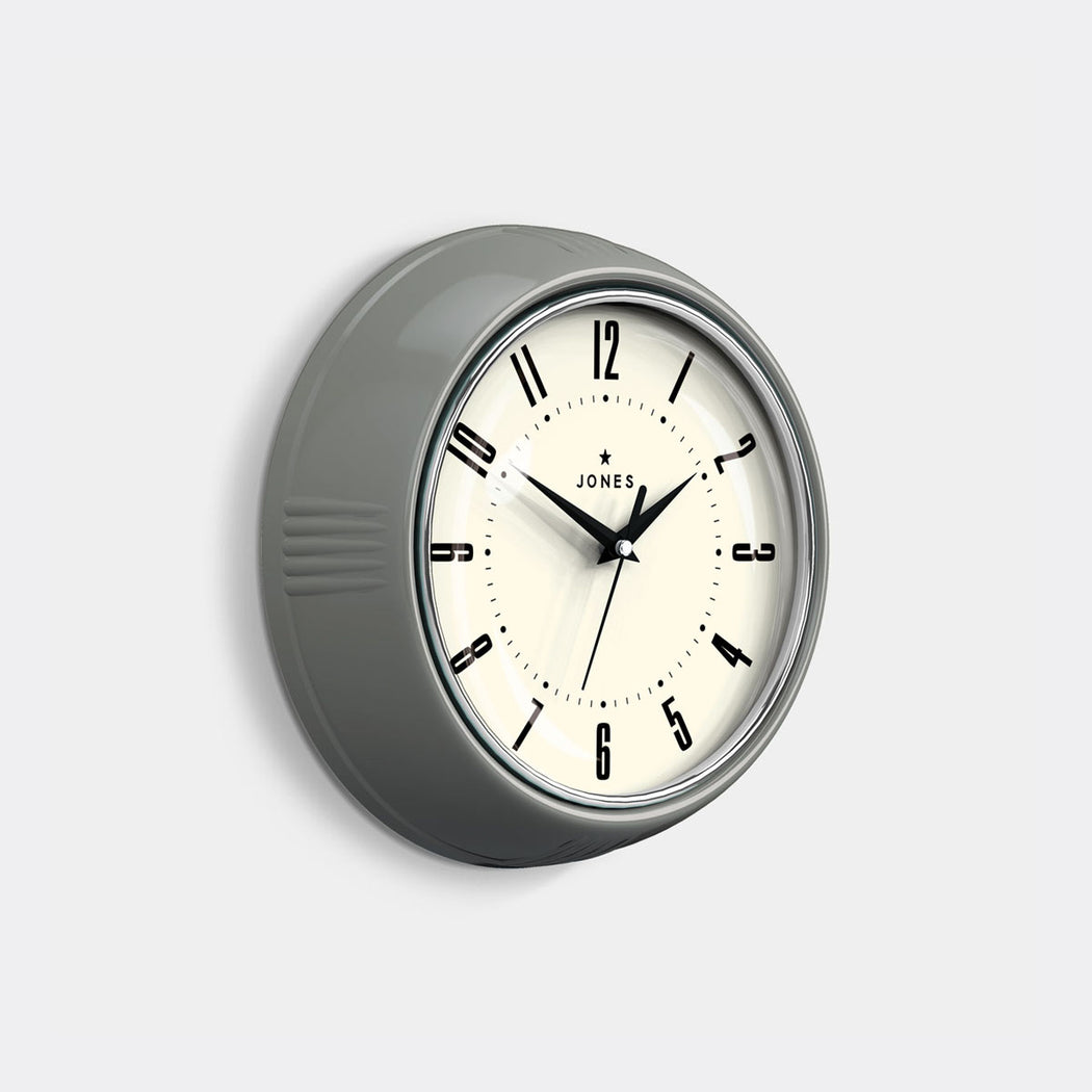 Small Retro Wall Clock | Grey | Jones Clocks | Ketchup 214 - skew