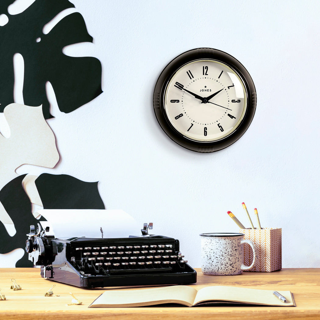 Small Retro Wall Clock | Black | Jones Clocks | Ketchup 214 - style