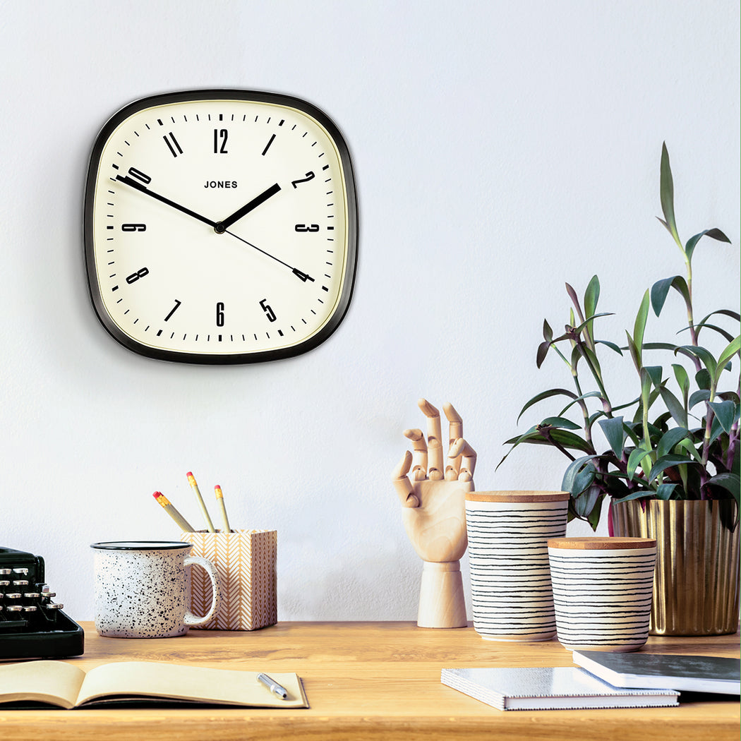 Medium Retro Wall Clock | Black | Jones Clocks | Marvel 145  - style