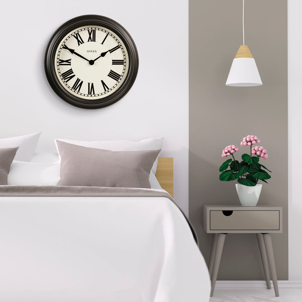 Large Roman Numeral Wall Clock | Grey | Jones Clocks | Opera House 1 - style