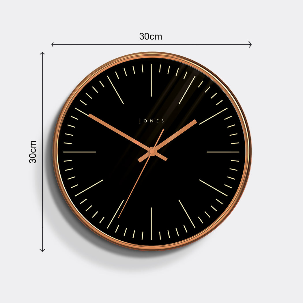 Medium Modern Wall Clock | Copper and Black | Jones Clocks | Studio 48 - size