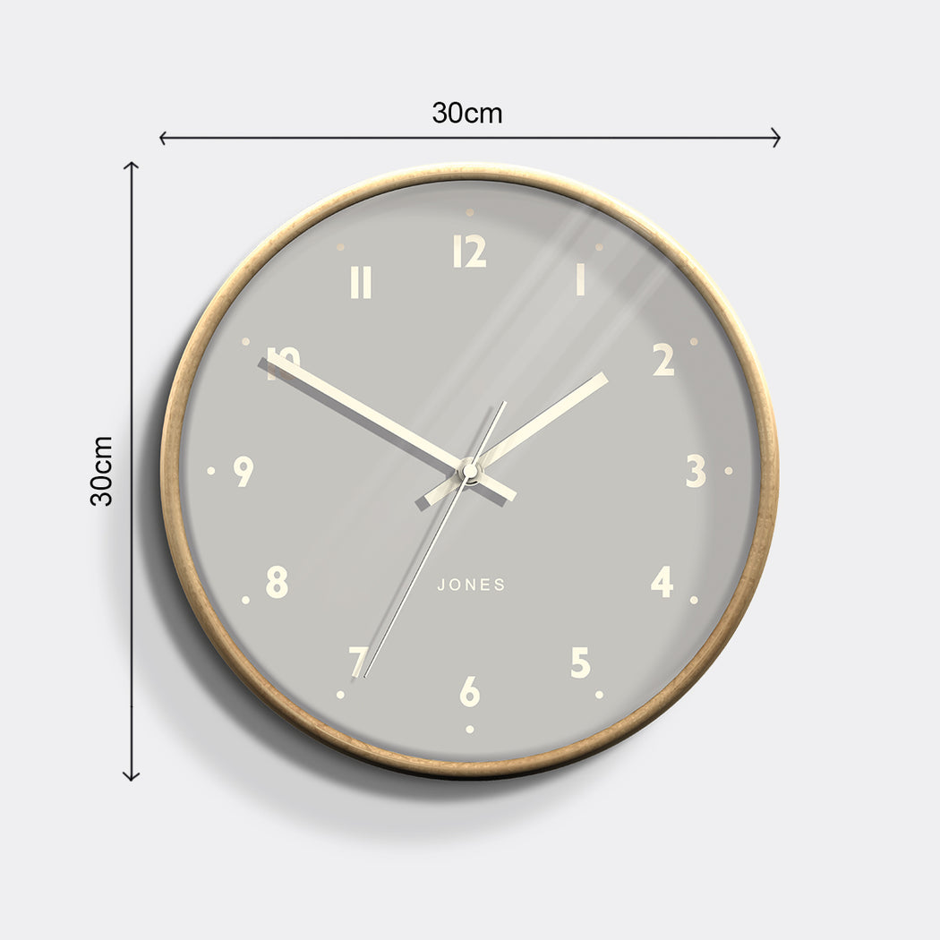 Medium Modern Wall Clock | Wood and Grey | Jones Clocks | Studio 516 - size
