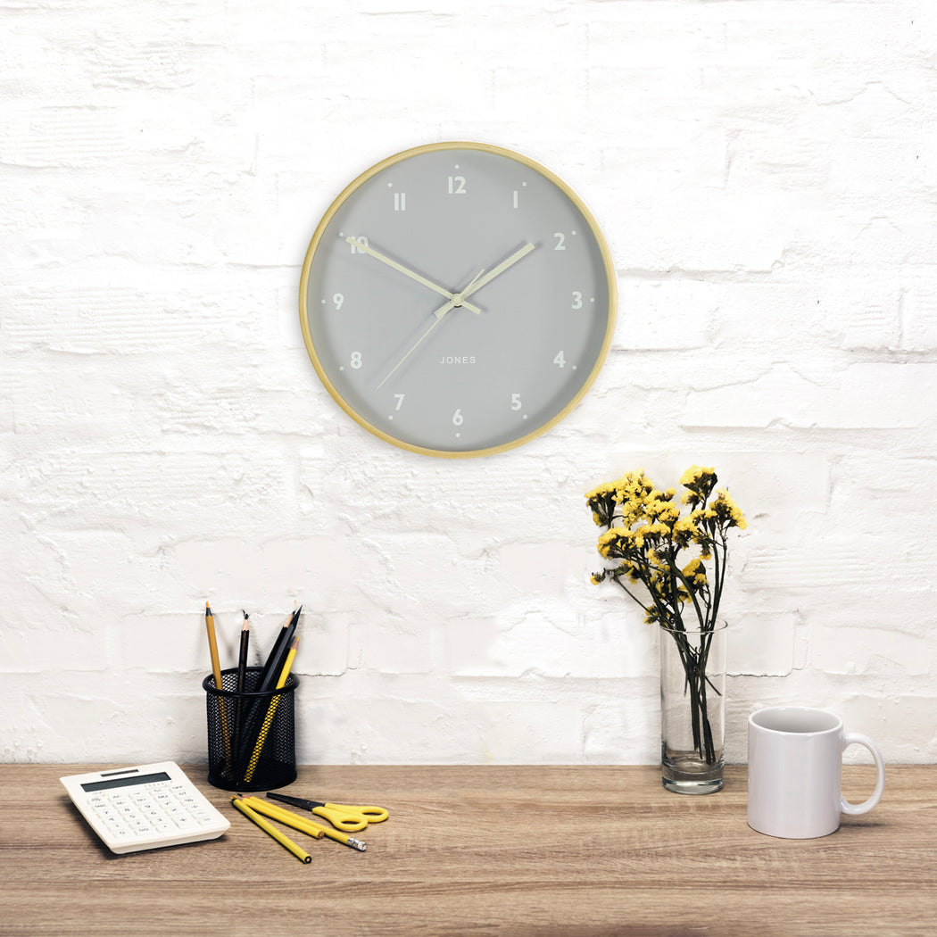 Medium Modern Wall Clock | Wood and Grey | Jones Clocks | Studio 516 - style