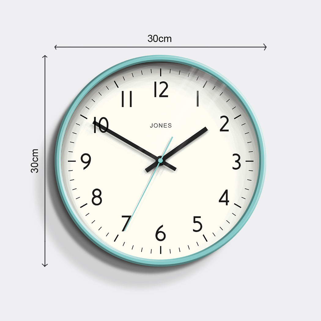 Medium Modern Wall Clock | Turquoise | Jones Clocks | Studio 52 - size