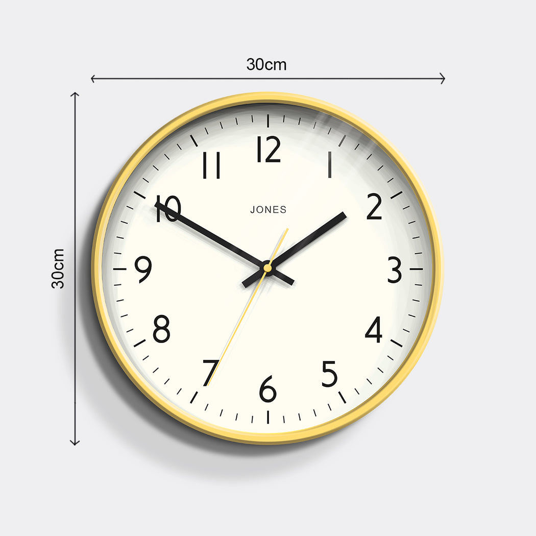 Medium Modern Wall Clock | Yellow | Jones Clocks | Studio 52 - size