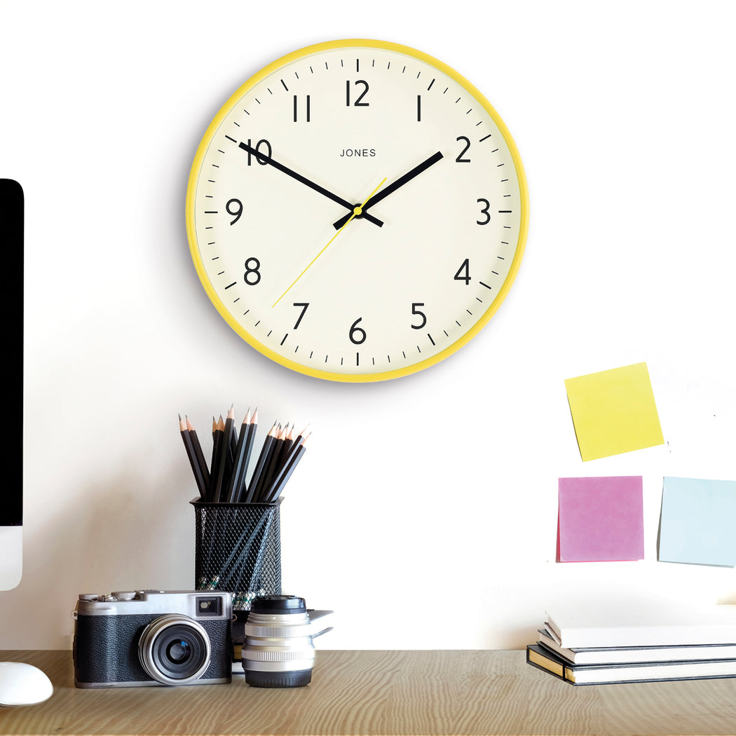 Medium Modern Wall Clock | Yellow | Jones Clocks | Studio 52 - style