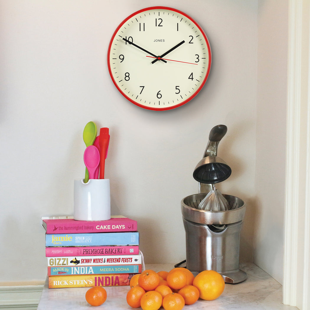Red Wall Clock - Modern Bright Colourful - Jones Clocks - JPEN52ER