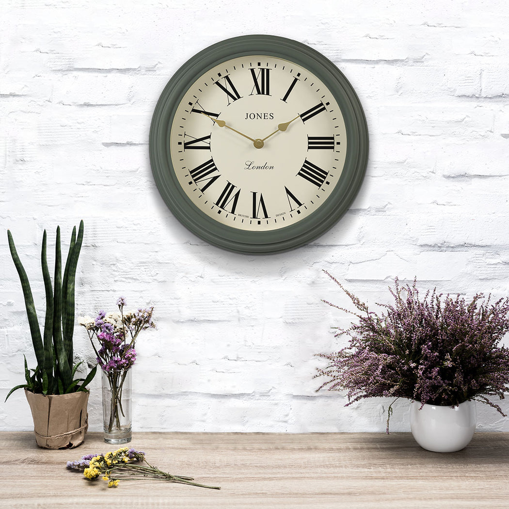Sage Green Wall Clock - Roman Numeral - Jones Clocks - JVEN319ASG