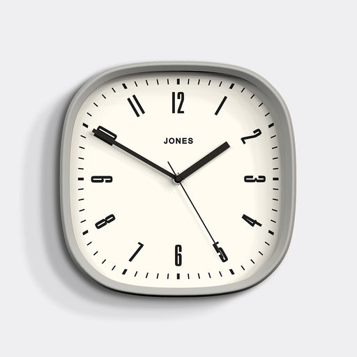 Medium Retro Wall Clock | Grey | Jones Clocks | Marvel 145 - front