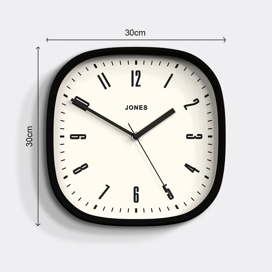 Medium Retro Wall Clock | Black | Jones Clocks | Marvel 145  - size