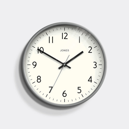 Medium Modern Wall Clock | Grey | Jones Clocks | Studio 52 - front
