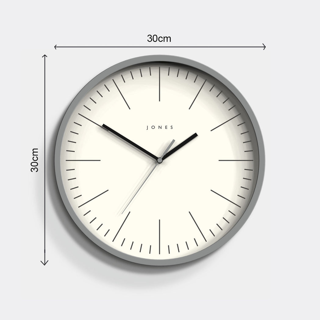 Modern Minimalist Grey Wall Clock - Jones Clocks - JSPAR102PGY